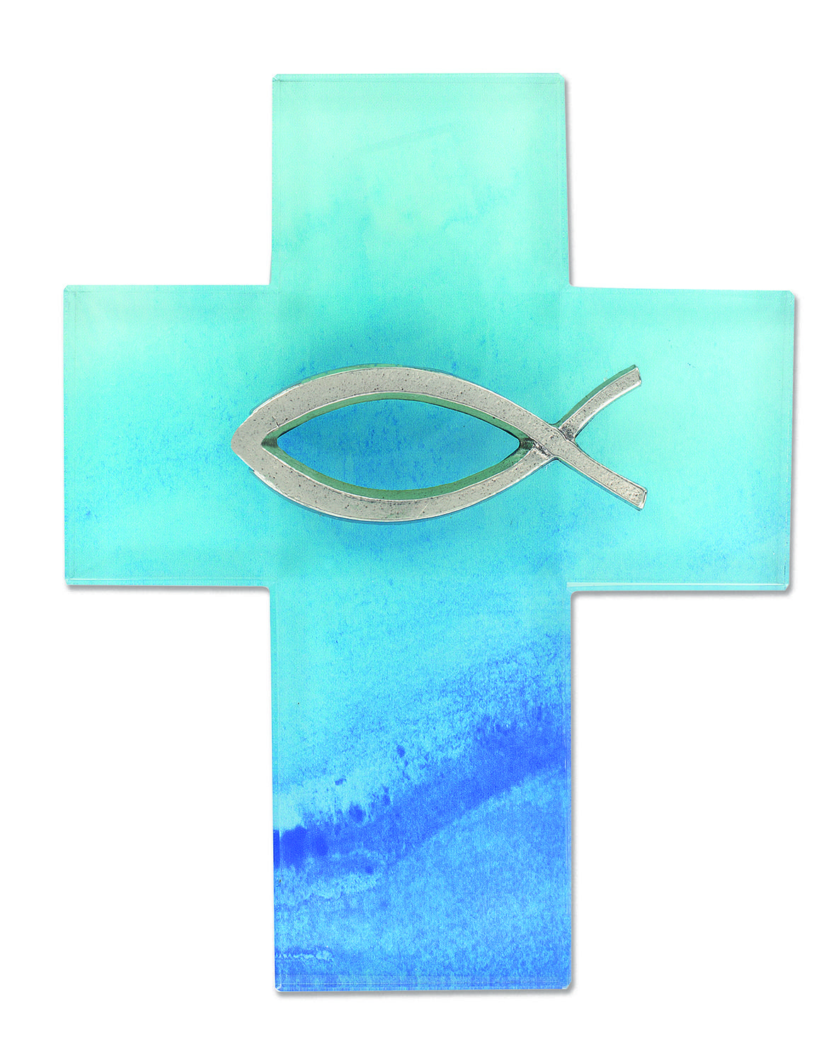Kreuz mit Fisch blau  Glas  Paulus Buchhandlung